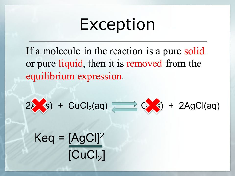 Exception Keq = [AgCl]2 [CuCl2]